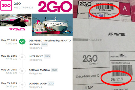 Online 2GO Tracking Number Barcode