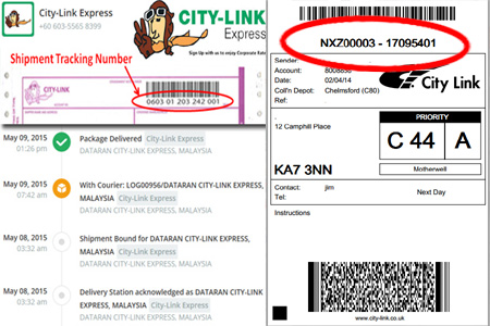 Online City Link Tracking Number Barcode