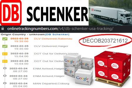 Online DB Schenker USA Tracking Number Barcode