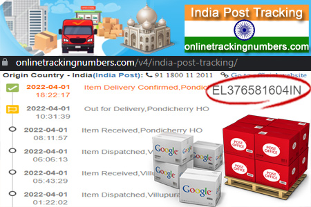 Online India Post Tracking Number Barcode