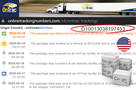 Online OnTrac Tracking Number Barcode